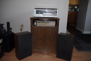 Record Player+Speakers+Record Cabinet+Records