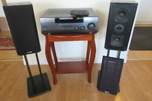 Kenwood Receiver Amp with matching Kenwood Speakers and Stands