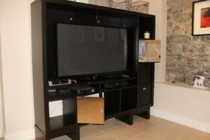 IKEA  wall unit  for TV/media  with Mirror doors and baskets