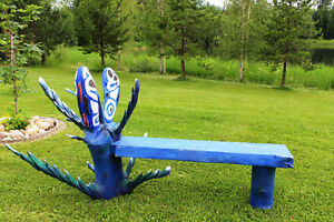 Unqiue Chainsaw Carved Bench Fish with Aquatic Plants