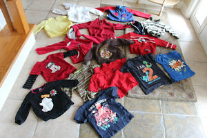 15 Boys Size 2 tops, 5 pants, 5 socks, and fuzzy fleece jacket