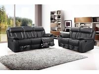 New Black Leather 3 + 2 Recliner Sofa Couch Settee