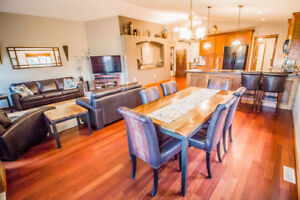 Dining room table &  8 leather chairs