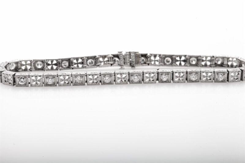 """Antique 1920s $8000 Filigree Platinum 3ct Old Euro Diamond Tennis Bracelet 7.5"""""""