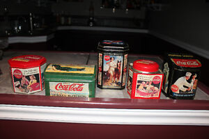 lot of 5 differently shaped Coca-Cola tins REDUCED