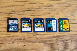 5 SD Cards - Total 40 GB