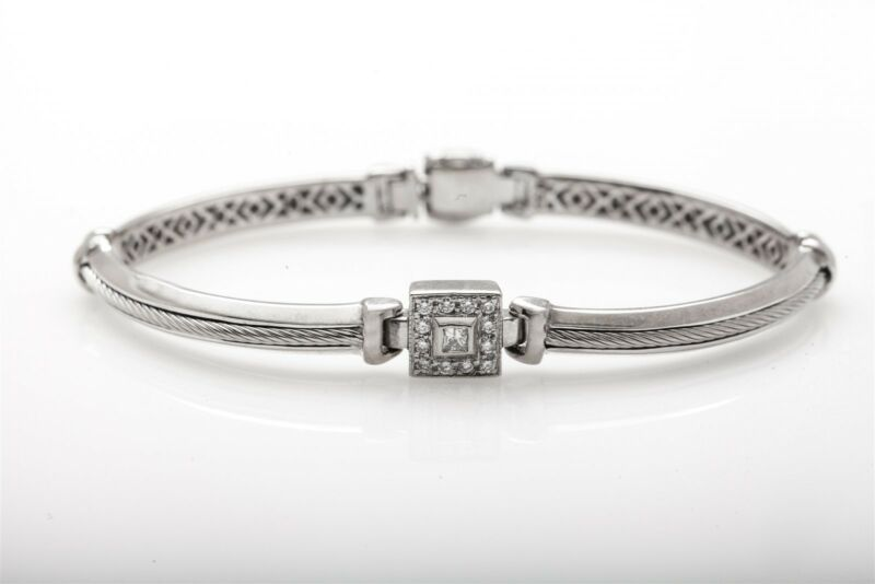 Philippe Charriol $6000 .50ct Vs G Diamond 18k White Gold Tennis Bracelet 22g