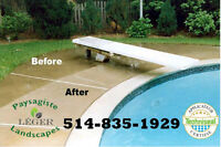 Concrete Pool deck /cleaning nettoyage de contour de piscine