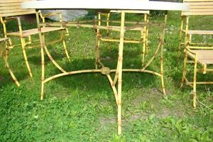 Mid Century Hollywood Regency Bamboo Patio Table & Chair Set Belleville Belleville Area image 7