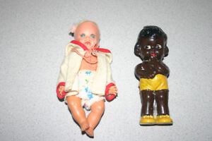 Brown Baby Rattle & Small doll that squeaks