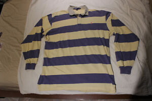 Vintage POLO Ralph Lauren stripped collared Rugby - Large