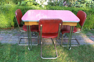 1950's-1960's Vintage Arborite Red Chrome Table & 3 Chairs Set