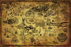 LEGEND OF ZELDA MAP 24x36 poster NINTENDO BRAND NEW HYRULE VIDEO GAMES GIFT NEW!