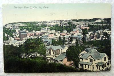 (1908 POSTCARD BIRDSEYE VIEW OF ST CHARLES MINNESOTA MN #Q99)