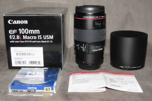 like new canon EF 100 2.8 L IS MACRO lens in box with hood