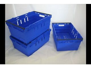 Plastic Storage Crates Bail Arm Totes Large 64 Litre Boxes