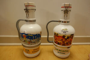 Vintage two Christoffel Winterbier Ceramic Bottle Jugs