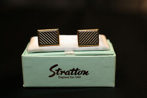 Men's Silver Gold Cufflinks by Stratton of England