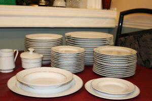 DISHES - WHITE WITH GOLD TRIM - 14 PLACE SETTINGS