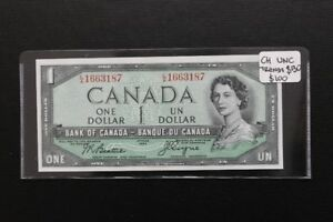 Canada 1954 $1 Uncirculated Bank Note