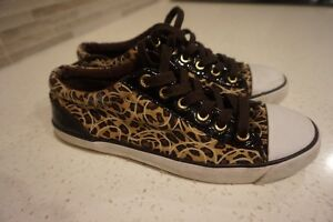 """LADIES AUTHENTIC SIZE 7-1/2 """"COACH"""" BROWN/BLACK SNEAKERS"""