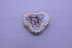 Antique DRESDEN Germany Hand Painted Heart Shaped Dresser Box