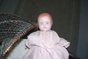 1800s PLASTER DOLL WITH PERIOD WICKER DOLL CARRIAGE London Ontario image 8