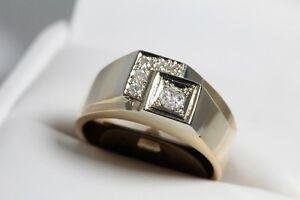 NEW 0.25 CARAT CERTIFIED FOR $2550 DIAMOND  14K GOLD MEN'S RING FOR SALE