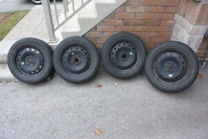 """Nokian Hakkapeliitta R winter tires on 16"""" steel rims for VW"""