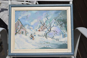 WINTER STORM OIL ON CANVAS PAINTING EXCELLENT SIGNED