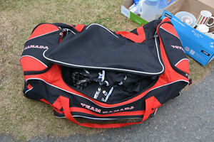 Hockey bag and goalie gear