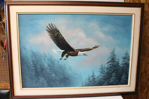 Framed Bald Eagle Painting on Canvas