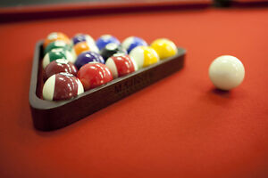 ◄Solid Wood Pool Table Leather Pockets Cues Balls Windsor Region Ontario image 9