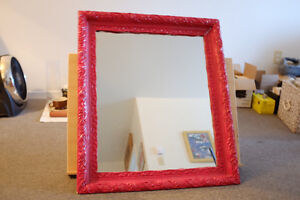 Vintage red frame mirror, most beautiful mirror ever