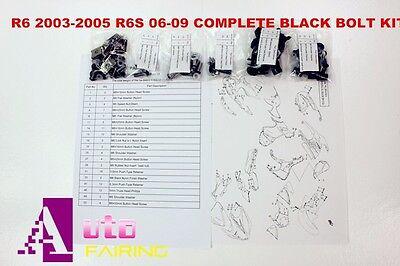 2005 Yamaha R6 Bolt - Complete Black Fairing Bolt Kit body for yamaha R6 2003 2004 2005  R6S 2006-2009