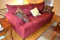 Red-Plush Suede-Couch & Loveseat