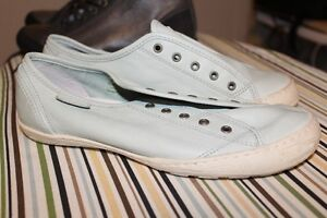 Light Blue, Real Leather Sneakers