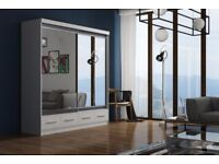 ⚫⚫ Margo Wardrobe ⚫⚫ 2 Door Sliding Mirror Wardrobe 3 Different Sizes -- Special Offer -- Brand New