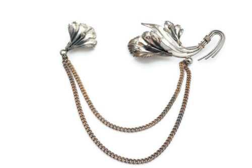 Vintage Sterling Silver Two Iris Flower Sweater Clip Guard