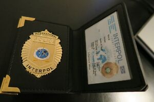 Interpol Police full metal badge and wallet