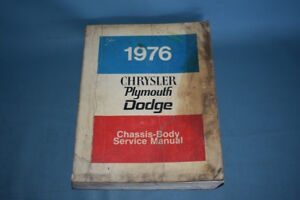 1976 Dodge Plymouth Chrysler Service Shop Repair Manual