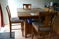 Pub height dining table + 6 chairs