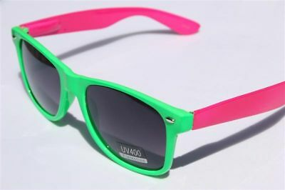 Neon Green Pink 80's Retro Vintage Sunglasses smoke Lens Hip](Neon Green Sunglasses)