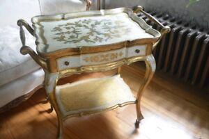 RARE Italian Florentine TEA BAR Cart w TRAY Drawer Gold GILT