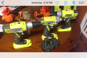 Ryoby drills and impact drive, onr battery no charger