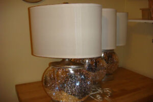 3 mercury glass lamps.