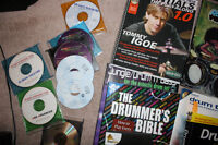 Various drum teaching CDs, dvds and books