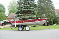 Lund 14.5ft fishing boat with trailer and accessories