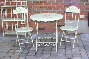 Bistro Table Set with Shelving Unit