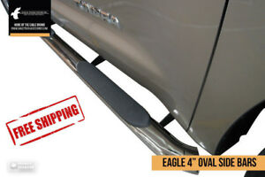 """Premium 4"""" Stainless Steel Oval Side Step Bars - FREE SHIPPING!"""